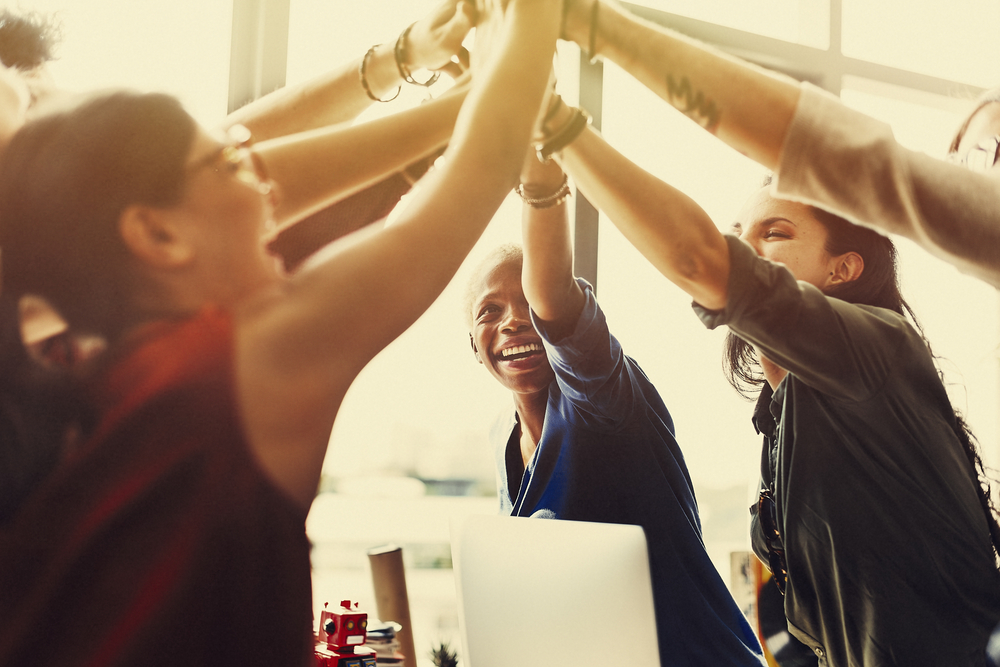 group-of-coworkers-high-fiving-in-celebration